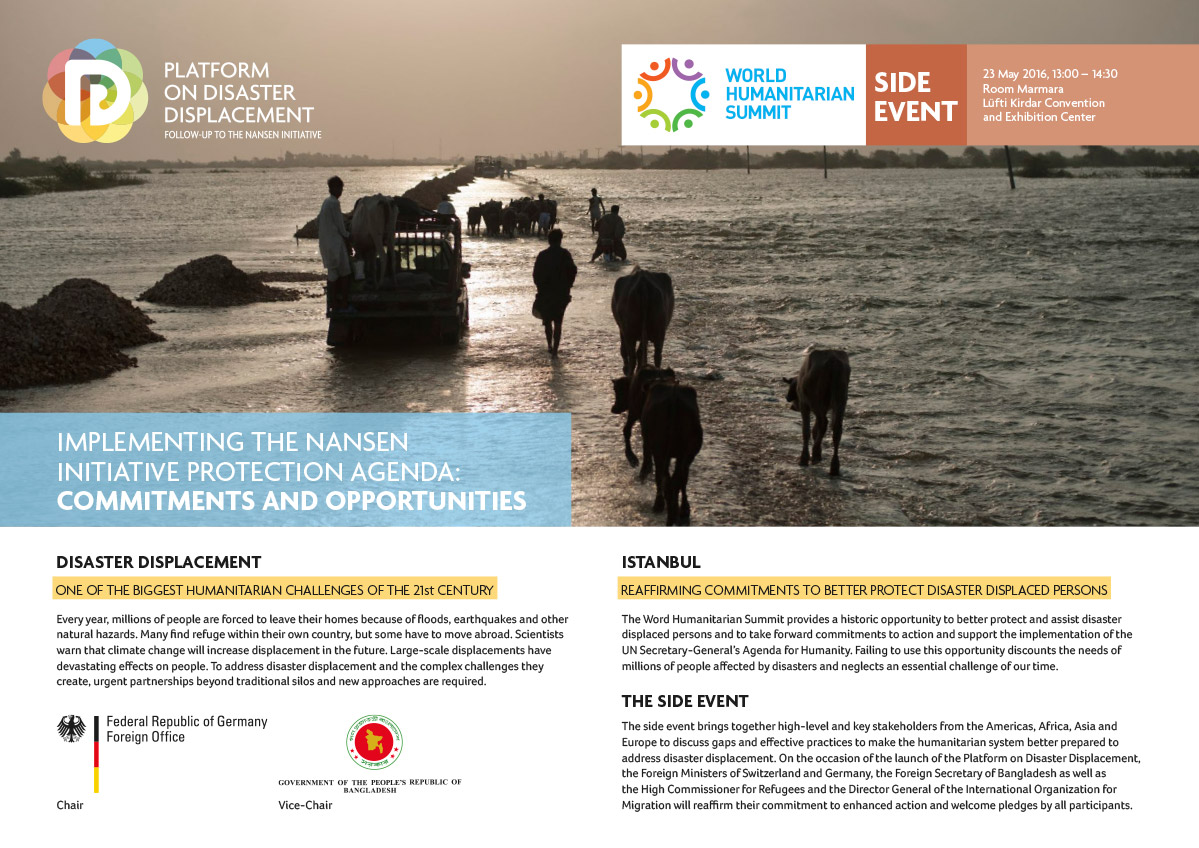 WHS SIDE EVENT – Implementing The Nansen Initiative Protection Agenda – Commitments And Opportunities