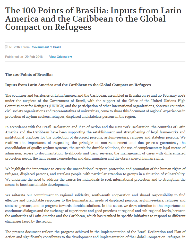 The 100 Points Of Brasilia: Inputs From Latin America And The Caribbean To The Global Compact On Refugees