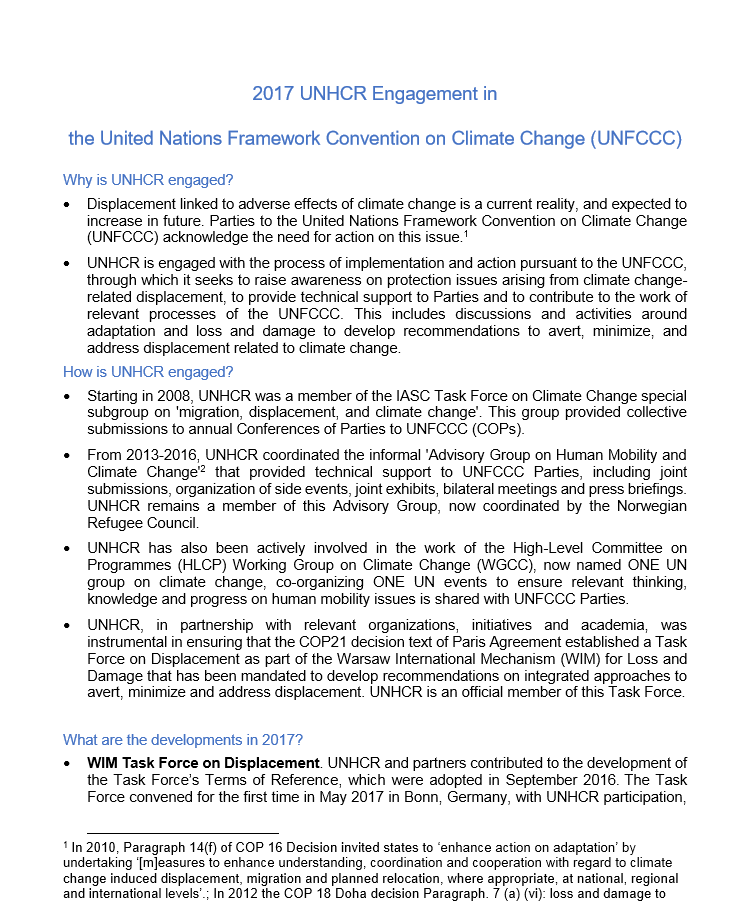 2017 UNHCR Engagement In The United Nations Framework Convention On Climate Change (UNFCCC)