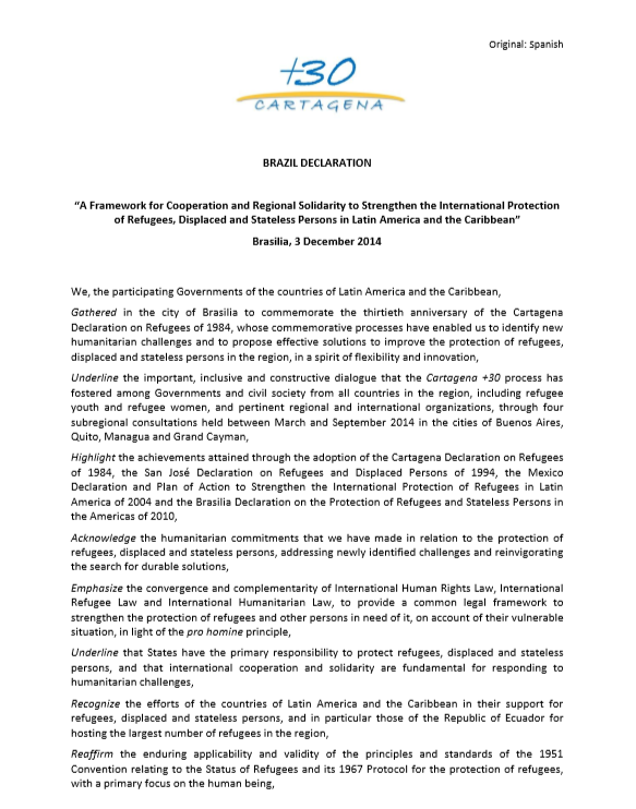 Brazil Declaration And Plan Of Action Cartagena + 30