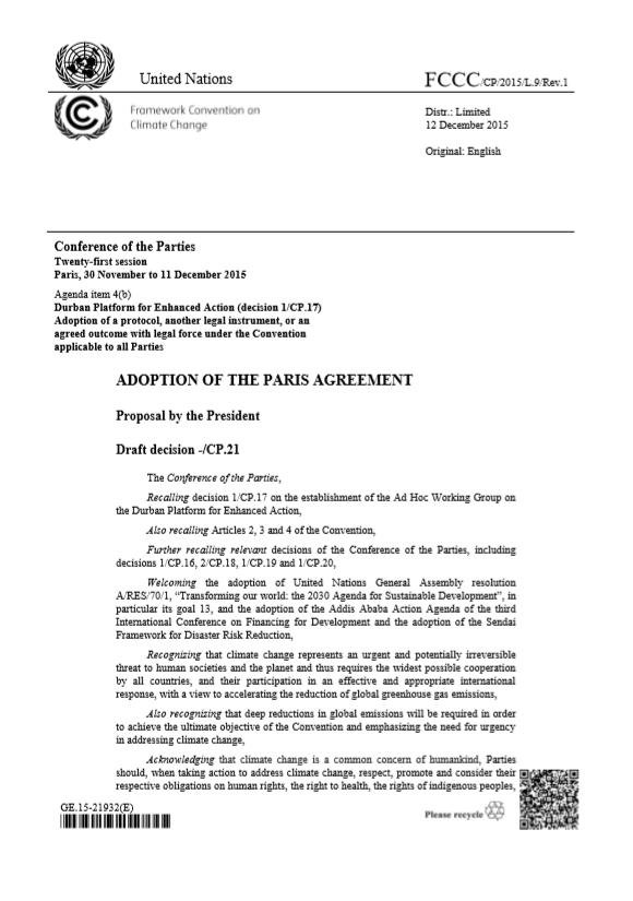Paris Agreement 2016 – UNFCCC