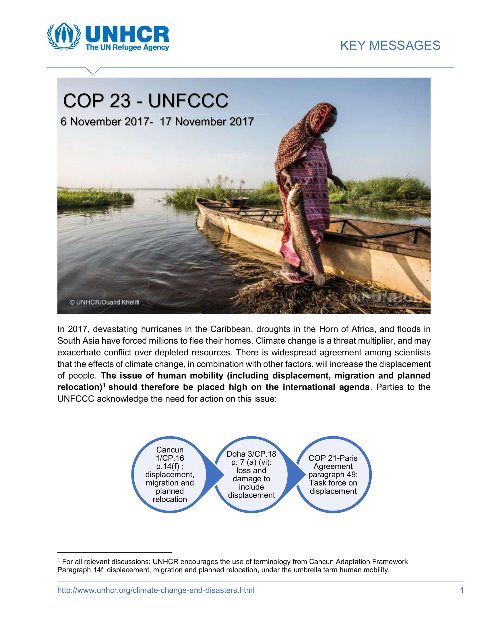 UNHCR Key Messages For Cop 23
