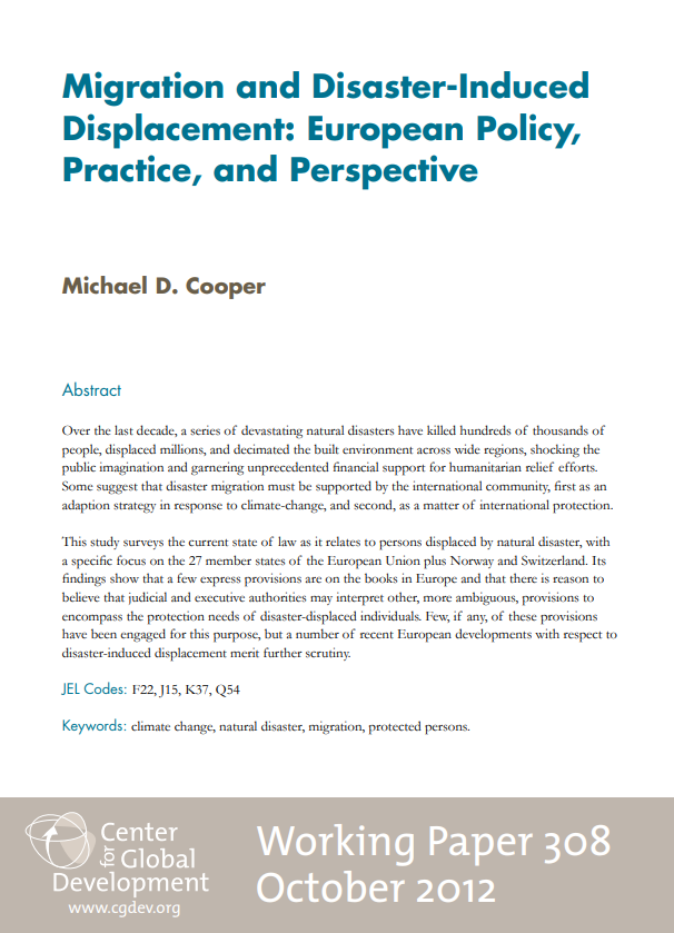 Migration And Disaster-Induced Displacement: European Policy, Practice, And Perspective