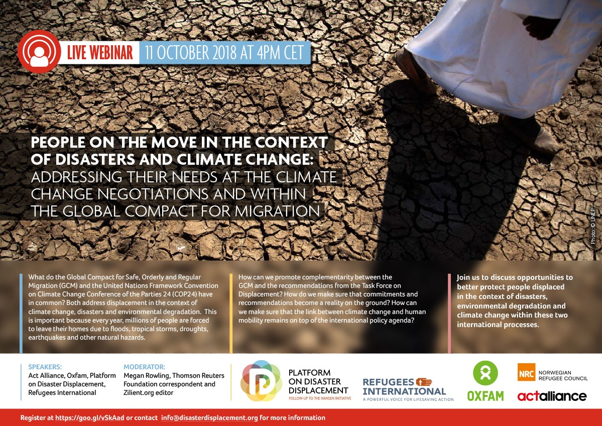 People On The Move In The Context Of Disasters And Climate Change – Addressing Their Needs At The Climate Change Negotiations And Within The Global Compact For Migration