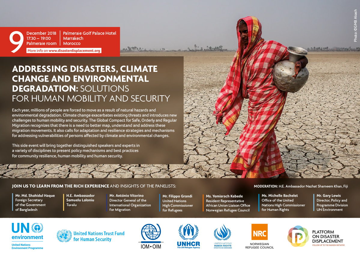 Side-event: Addressing Disasters, Climate Change And Environmental Degradation  – Solutions For Human Mobility And Human Security