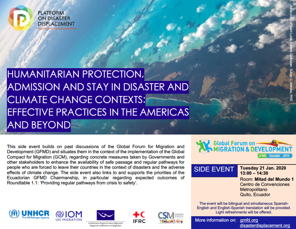 GFMD Side Event – Humanitarian Protection, Admission And Stay In Disaster And Climate Change Contexts: Effective Practices In The Americas And Beyond