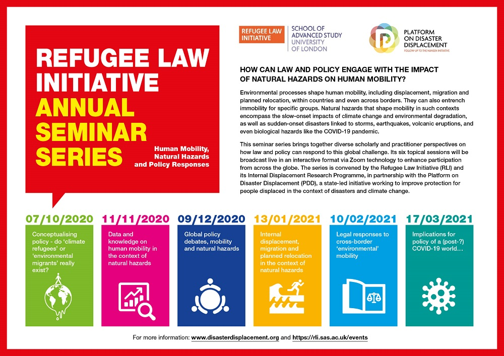 11th Refugee Law Initiative Annual Seminar Series: Human Mobility, Natural Hazards And Policy Responses