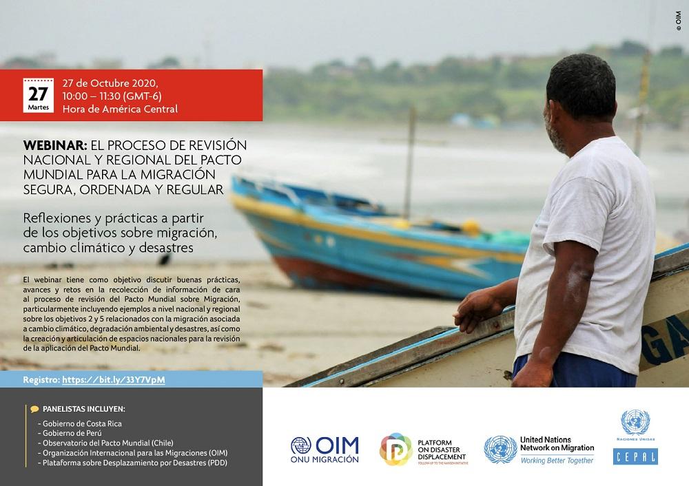 Webinar | El Proceso De Revisión Nacional Y Regional Del Pacto Mundial Para La Migración Segura, Ordenada Y Regular: Reflexiones Y Prácticas A Partir De Los Objetivos Sobre Migración, Cambio Climático Y Desastres