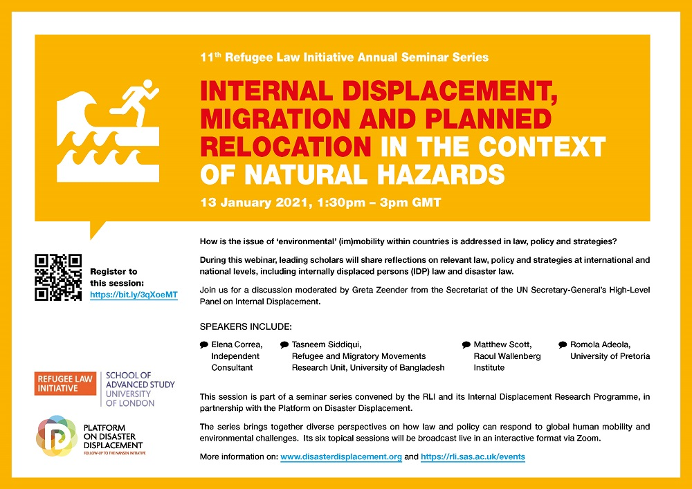 Webinar | Internal Displacement, Migration And Planned Relocation In The Context Of Natural Hazards