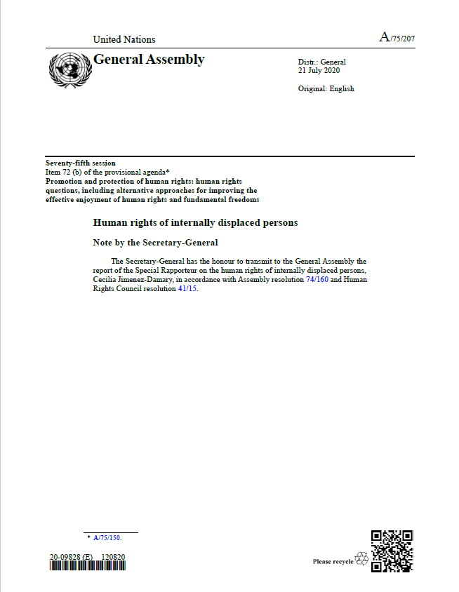 Cover Page: United Nations General Assembly Seventy-fifth Session, Item 72(b) Of The Provisional Agenda, Human Rights Of Internally Displaced Persons Note By The Secretary-General