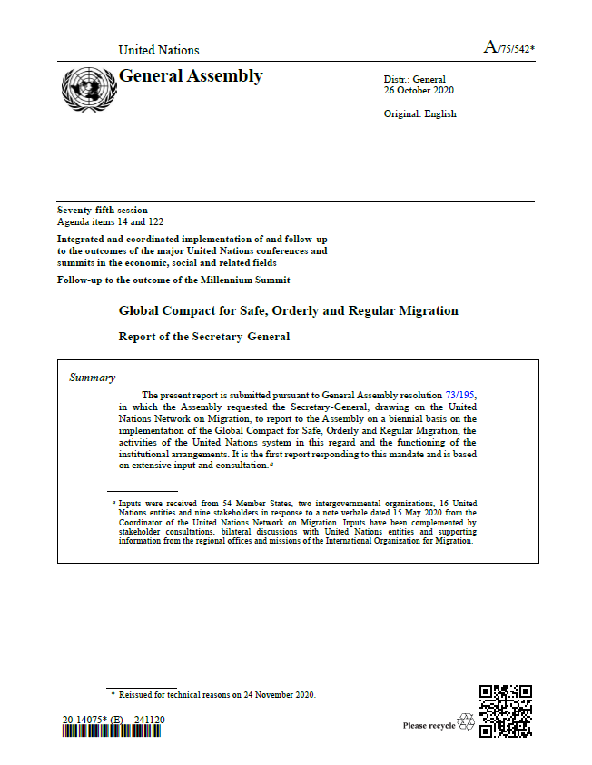 Cover Page: United Nations General Assembly Seventy-fifth Session, Agenda Items 14 And 122, Report Of The Secretary-General - Global Compact For Safe, Orderly And Regular Migration