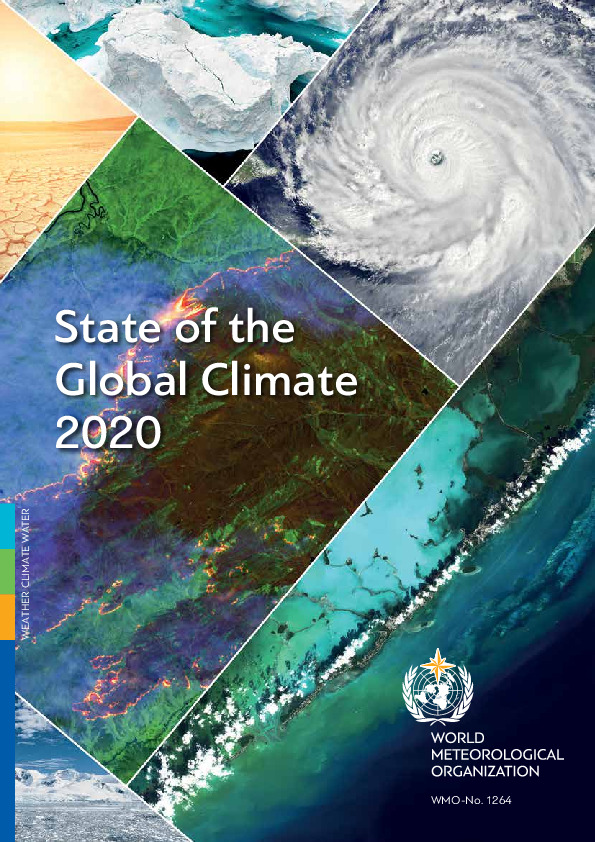Cover Image: Satellite Images Of The Earth With The Text State Of The Global Climate 2020
