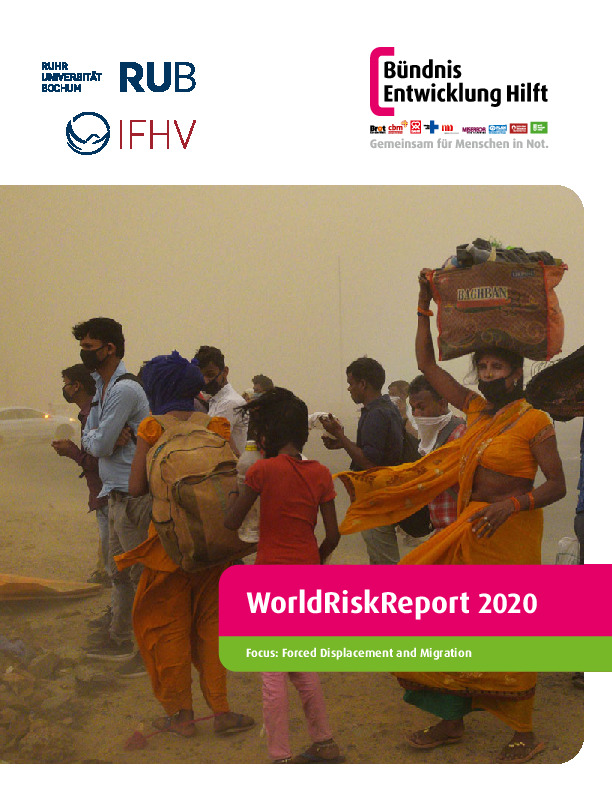 Cover Image: A Group Of People By A Dusty Roadside With The Text WorldRiskReport 2020: Forced Displacement And Migration