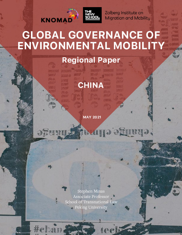 Cover Image: Shot Of A Wall Covered In Posters With Text: Global Governance Of Environmental Mobility Regional Paper: China