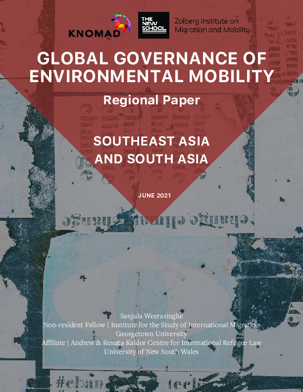Cover Image: Shot Of A Wall Covered In Posters With Text: Global Governance Of Environmental Mobility Regional Paper: South East Asia And South Asia